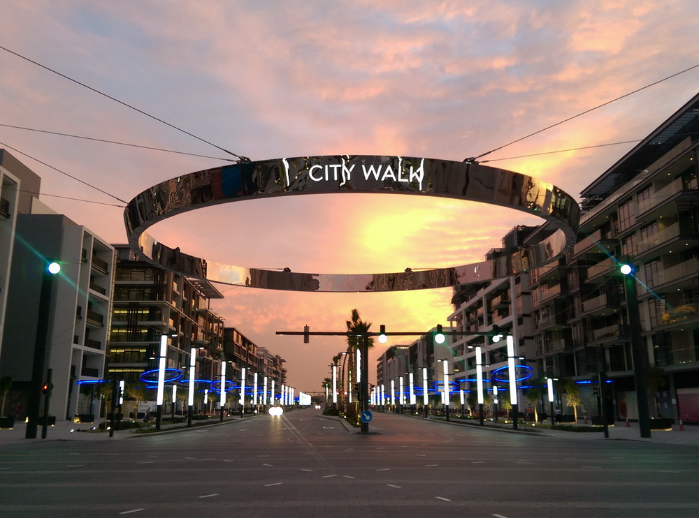 Street Light Poles and LED Rings Installation at Citywalk - Dubai